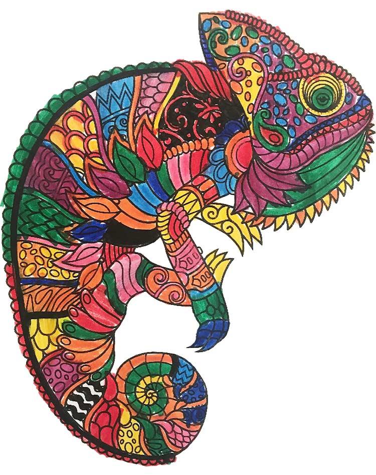 Mandala Chameleon pintado