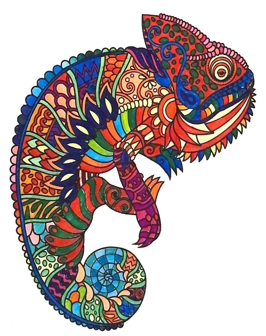 Chameleon Mandala pintado