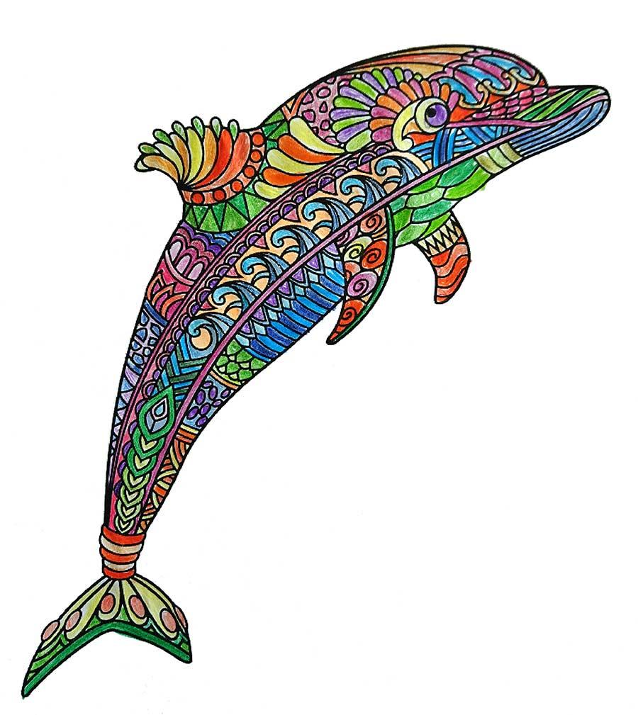 Mandala Delphin pintado