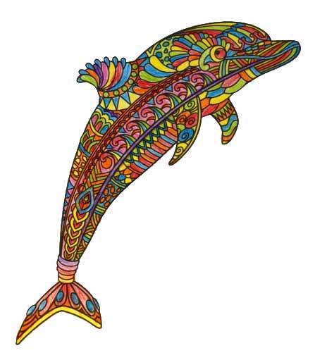 Delphin Mandala pintado