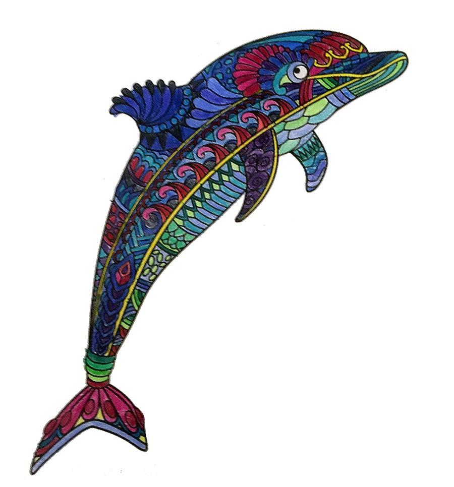 Mandala Delphin ausgemalt