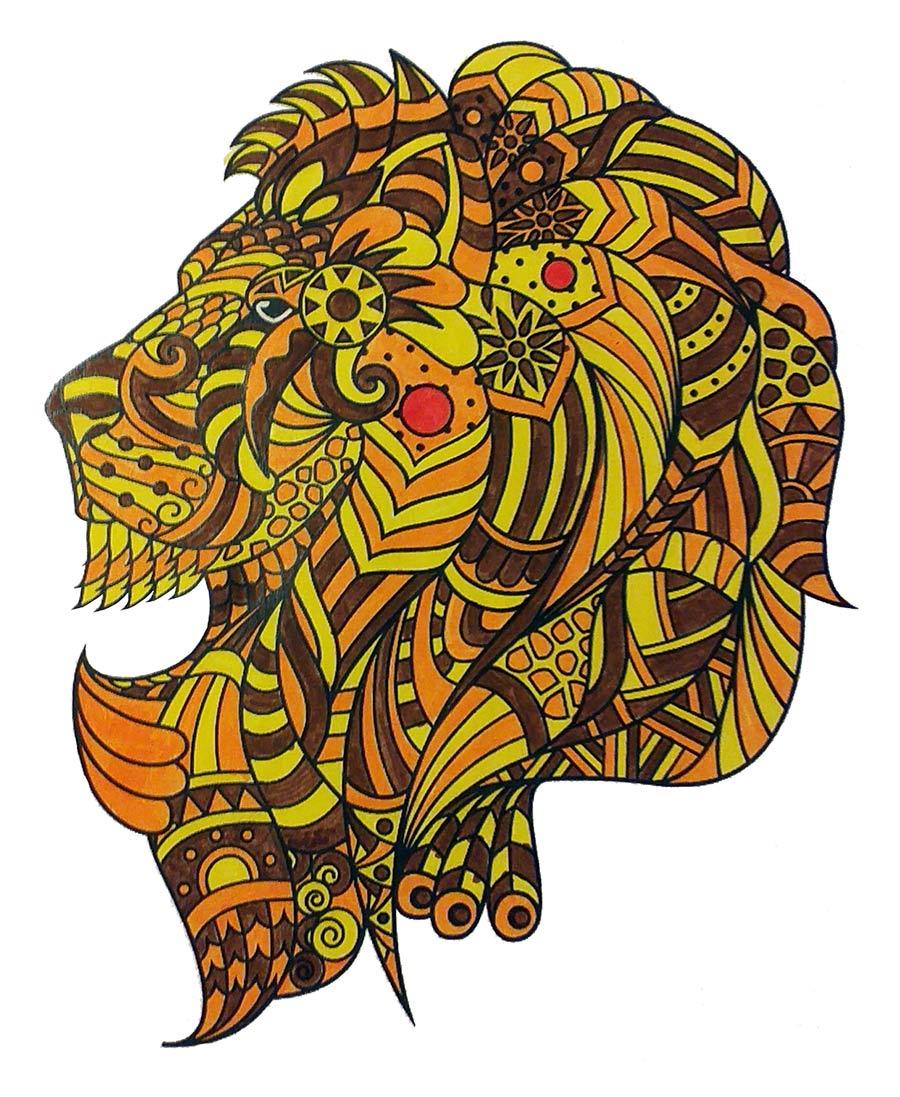 Mandala Löwe ausgemalt