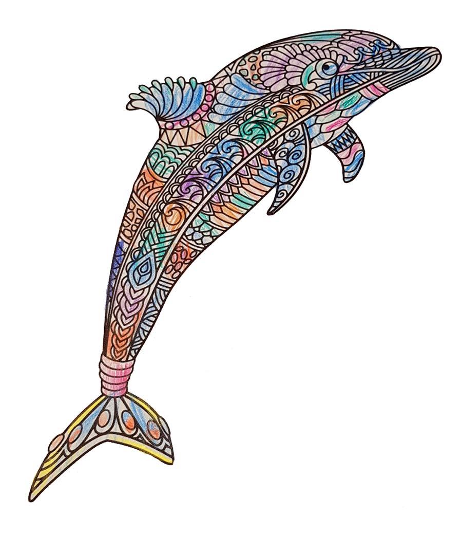 Mandala Delfin pintado