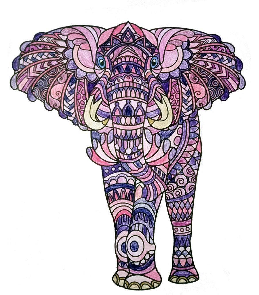 Mandala Elefant ausgemalt