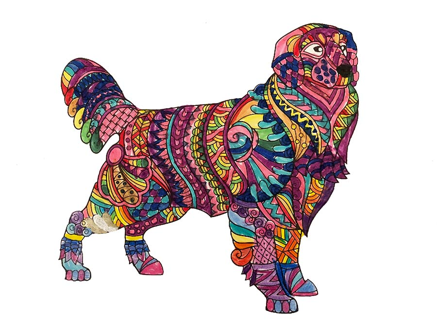 Mandala Hund ausgemalt