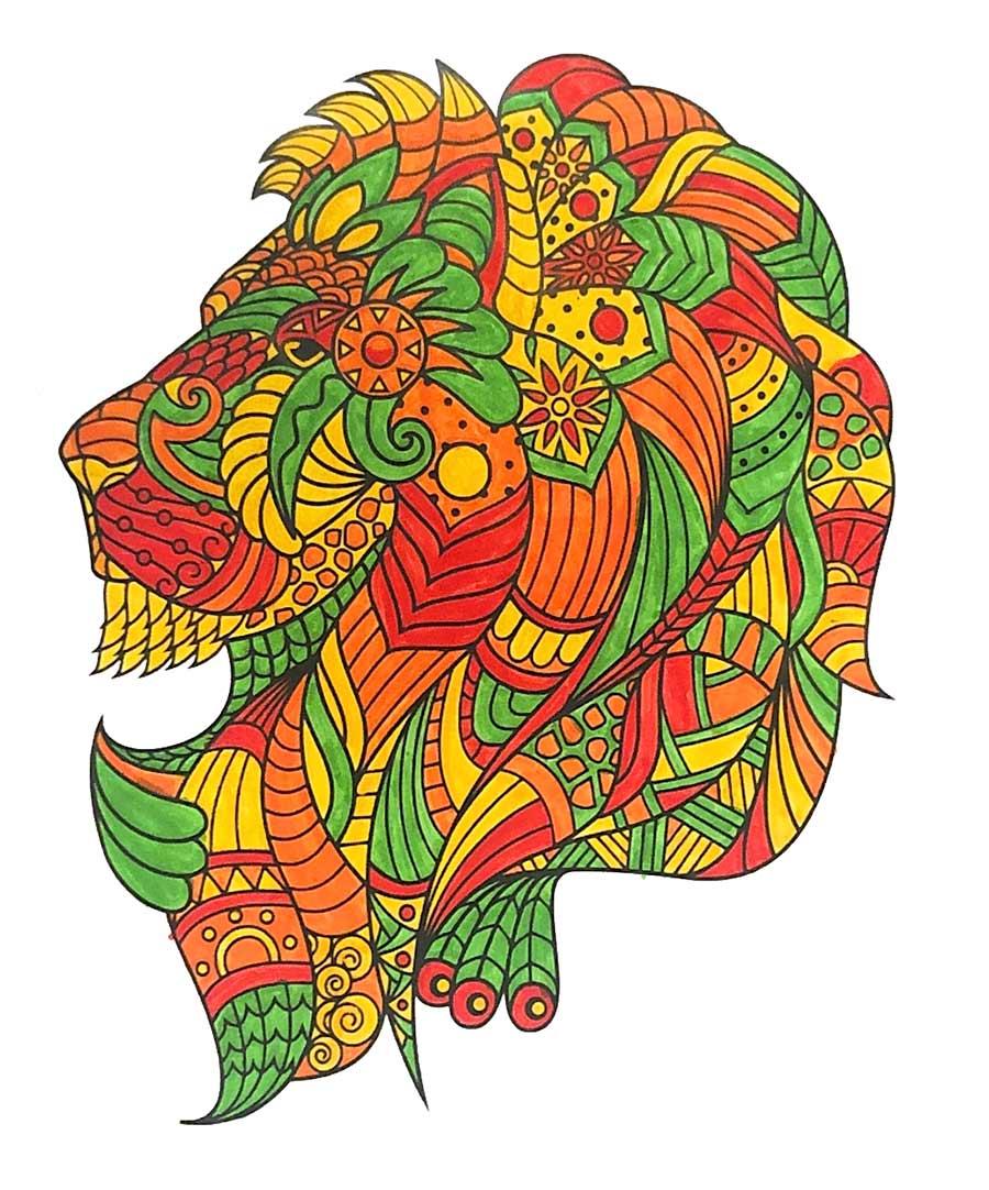 Mandala Lion pintado