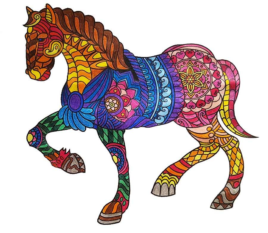 Mandala Horse pintado
