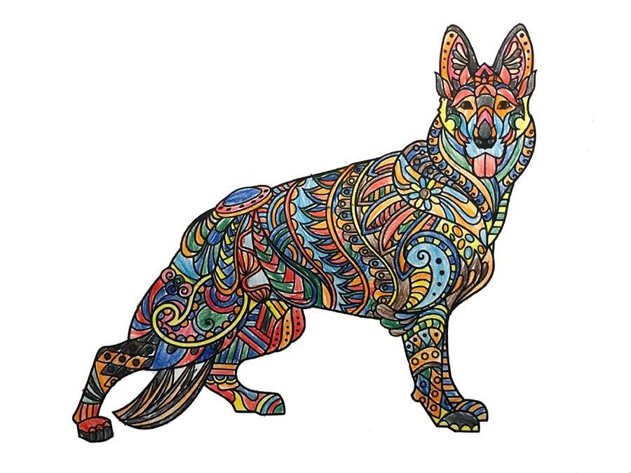 Mandala Schäferhund ausgemalt