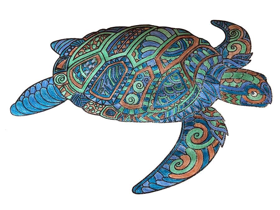 Mandala Schildkröte ausgemalt