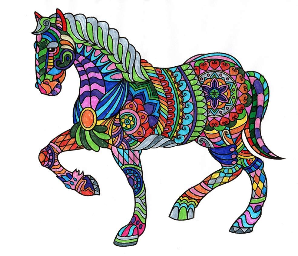 Mandala Pferd ausgemalt