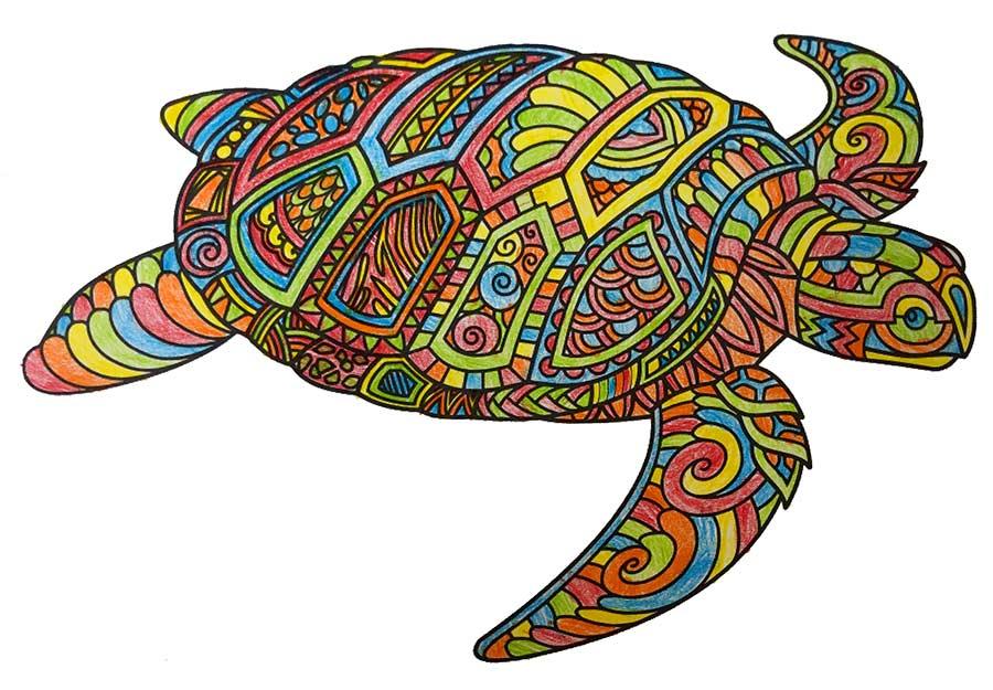Mandala Tortuga pintado