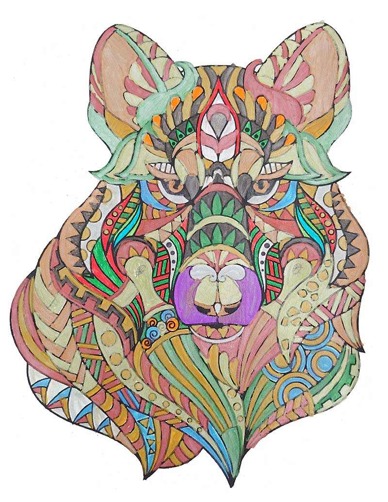 Mandala Lobo pintado