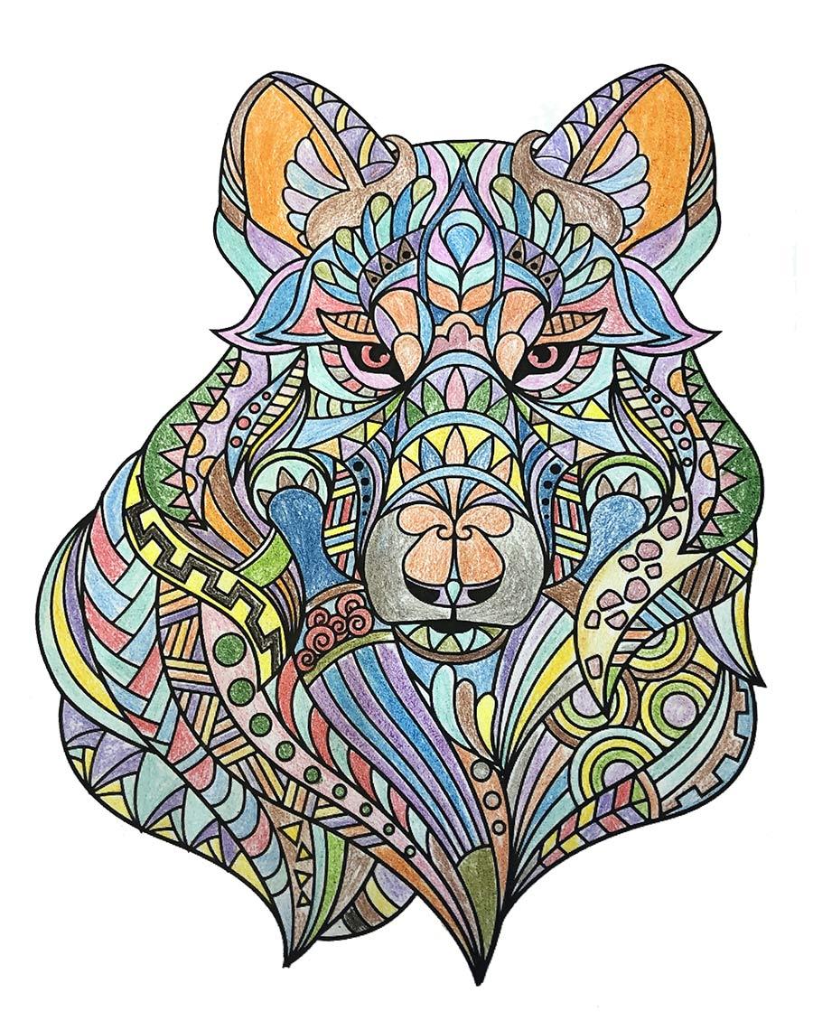Mandala Wolf ausgemalt
