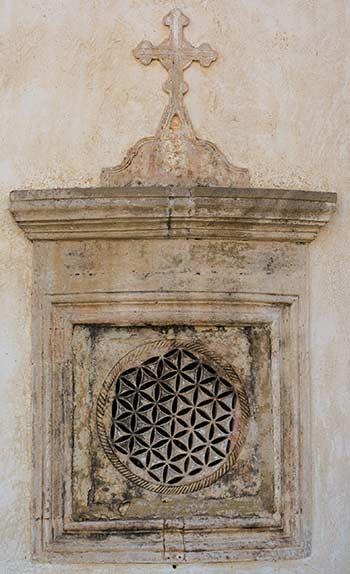 Blume des Lebens bei einer Kirche des Klosters Preveli, Kreta