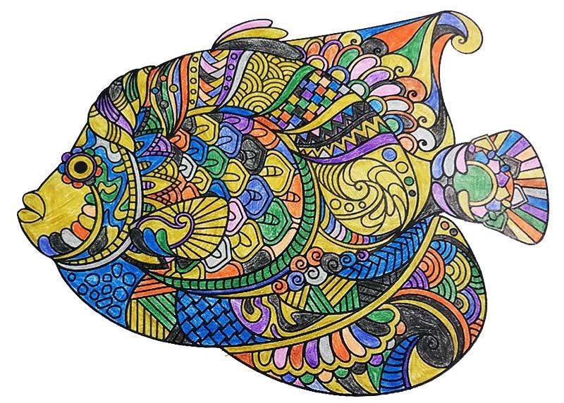 Mandala Fish pintado